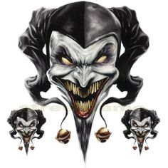 Scary Evil Skeleton L Clowns | ... for MOTORCYCLE WINDSCREENS Air Brush Jester evil skull clown biker