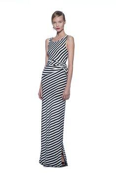 (Summer) Cocoon/True Navy Sleeveless Stripe Tie Dress    (Spring) Black Peyten Chunky Heel Sandal