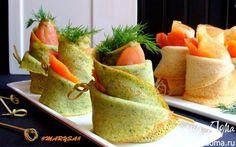 Блины на плавленом сыре со шпинатом и лососем | Кулинарные рецепты от «Едим дома!»