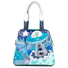 Irregular Choice We Come In Peace Top Handled Womens Bag Irregular Choice Heels, Edge Of The Universe, Alien Spaceship, Space Fashion, Space Theme, Silver Stars, Blue Bags, Iridescent, Shoulder Strap