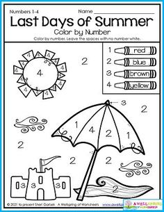 Kindergarten math Counting worksheets Color by number In this summer worksheet kids count by number using numbers 1-4. It's a great worksheet for early September. That's why it's included in my September Counting Worksheets set! There's other themes, too, including fall, back to school and apples. Please check it out! Counting Worksheets For Kindergarten, Summer Worksheets, Kindergarten Age, Kids Count, Counting For Kids, Writing Lines, Apples, 3 D, Numbers
