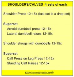 Shoulders/Calves workout from My Mission Impossible: Workouts #FitFluential
