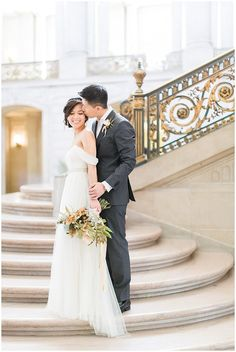 San Francisco City Hall Wedding Photography | Jenny Yoo Dress | Valentino Shoes | Blueberry Photography | Film Wedding Photography | Studio Choo Floral Bouquet