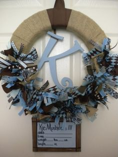 Burlap Ribbon Wreath in Chocolate Brown & Blues for baby boy