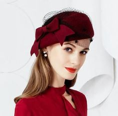 Elegant bow beret hat with veil for women wine wool occasion hats Tea Hats, Tea Party Hats, Cloche Hats, Popular Hats, Occasion Hats, Fascinator Hats, Millinery Hats, Pillbox Hat, Woman Wine