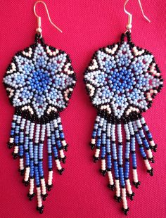 Mexican Huichol Beaded Star earrings by Aramara on Etsy