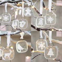 Glass Christmas tree decorations - Set of 8