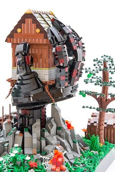 Tree houses are so yesterday Minecraft Awesome, Lego Construction, Tree Houses, Wild West, Legos, Vignettes, Westerns, Steampunk, Clock