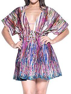 8ba6f3b06e166 Introducing La Leela Soft Cotton Cover Up Dress Women Plus Beach Wear  Caftan Swim Top Blue