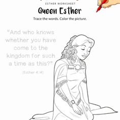 Esther and the King Color by Number Bible Activity for