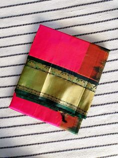 Bright Pink korvai kanchi Silk Cotton Saree with Dark Green Pallu & Korvai Zari Border Silk Cotton Sarees, Online Sites, Bright Pink, Color Change, Dark, Green