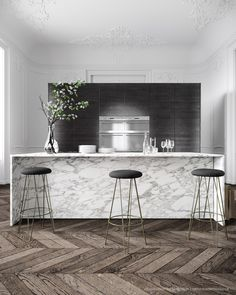 Parisian Apartment by Jessica Vedel - Marble Island + Herringbone Floor Interior Design Kitchen, Home Design, Design Ideas, Floor Design, Marble Interior, Design Trends, Design Inspiration, Kitchen Designs, Interior Paint