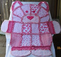 KITTY RAG QUILT Hot Pink Hearts Animal by TheNeedleNPinsPrject, $85.00