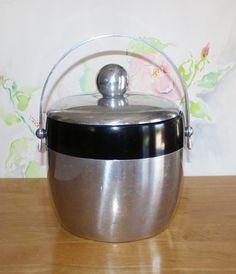 Vintage Kromex, Black and Aluminum Ice Bucket, Champagne Bucket