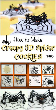 What is more fun than creepy spider cookies? These sugar cookies are decorated with royal icing and will give your little spooks the creeps. Iced Cookies, Fun Cookies, Cupcake Cookies, Decorated Cookies, Sugar Cookies, Cupcakes, Halloween Baking, Halloween Cookies, Halloween Treats