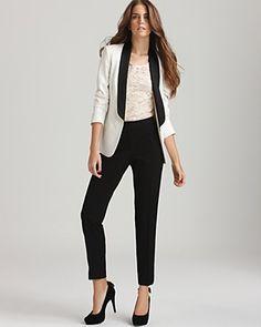White #tuxedo jacket with black satin lapel