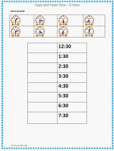 Copy and Paste Time - Half Hours Worksheet