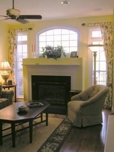 Yellow Family Room traditional family room