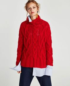 Image 2 of OVERSIZED CABLE-KNIT SWEATER from Zara