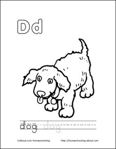 Letter D Coloring Book - Free Printable Pages: Dog Coloring Page