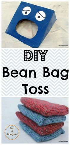 Make your own bean bag toss from a cardboard box!