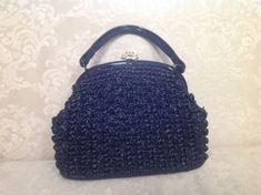 Vintage Black Straw Handbag by VintageSignora on Etsy, $29.00