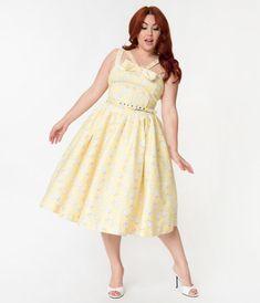 e001742d8bb3b1 Janie Bryant For Unique Vintage Plus Size Yellow & Poodle Print Beverly  Swing Dress #