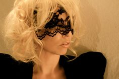 Lady Gaga Black Lace Face Mask Halloween Masquerade Costume Accessory