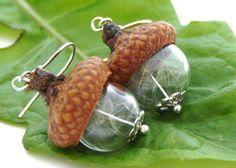 Real dandelion Eichelhütchen 925 Earrings
