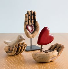Hand+Sculptures by Cathy+Broski: Ceramic+Sculpture available at www.artfulhome.com