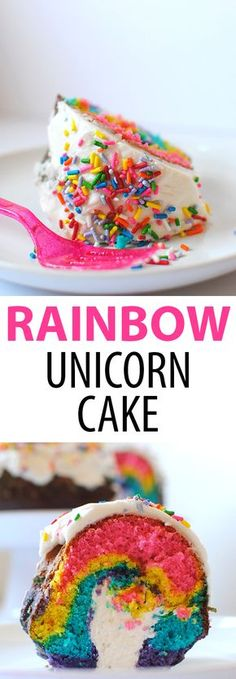 Rainbow Unicorn Cake with Twinkie Filling by Let's Eat Cake // unicorn cake // rainbow cake // st patrick's day cake // rainbow dessert // rainbow recipe Rainbow Desserts, Rainbow Food, Easy Desserts, Cake Rainbow, Keto Desserts, Easy Unicorn Cake, Rainbow Unicorn, Unicorn Cakes, Pastries