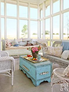 Sunroom windows - Employ an old trunk as a coffee table, and you'll get two for the price of one. Not only is it a coffee table, it's the perfect storage spot for stashing blankets, games, and living room extras. Sunroom Furniture, Wicker Furniture, Shabby Chic Furniture, Vintage Furniture, Furniture Ideas, Furniture Stores, Modern Furniture, Furniture Refinishing, Refurbished Furniture
