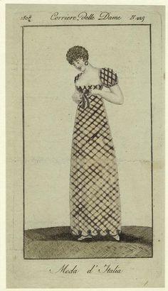 1808 New York Public Library 1800s Fashion, 19th Century Fashion, Vintage Fashion, Regency Dress, Regency Era, Jane Austen, Period Outfit, Empire Style, Historical Clothing