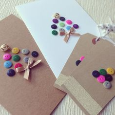 Handmade button Christmas cards & tags