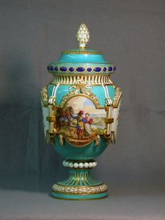 Antique porcelain vase with cover by Sevres, France 1763