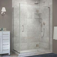 Unidoor-X 47-3/8-inch x 30-inch x 72-inch Frameless Corner Hinged Shower Enclosure in Brushed Nickel