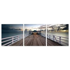 Furinno SeniA 'Brisbane Pier' 3-panel Wall-mounted Triptych Photography Prints