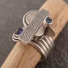 wave patterned stacking rings II by downtothewiredesigns, via Flickr