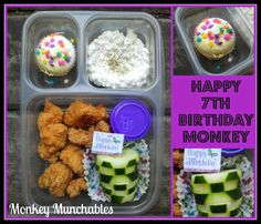 A special Happy Birthday lunch from Monkey Munchables! #Nonsandwich #bento #lunch #chicken #kidslunch #monkeymunchables