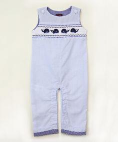 Blue Smocked Whale Overalls - Infant & Toddler