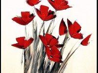 tableau peinture fleurs rouges