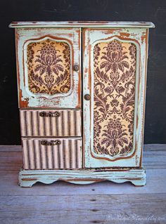 Vintage Jewelry Box, Hand Painted, Decoupage