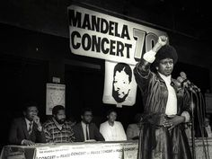 Winnie Mandela raises her fist in a black power salute after announcing that a massive pop concert will be held to mark the birthday of her husband, jailed black nationalist leader Nelson Mandela on July (Wendy Schwegmann / Reuters) New Africa, South Africa, Black Power Salute, Winnie Mandela, African National Congress, Pops Concert, Apartheid, Nobel Peace Prize, Freedom Fighters