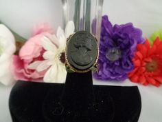 """Black Cameo Ring with Floral Design on the Side Adjustable for any size finger  1.25 x 1.25"""" by CCCsVintageJewelry on Etsy"""