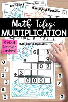 This set of math tiles for multi-digit multiplication activates critical thinking and problem-solving skills, all Multi Digit Multiplication, Multiplication Activities, Multiplication Problems, Teaching Fractions, Math Activities, Maths, 5th Grade Math, Sixth Grade, Fourth Grade
