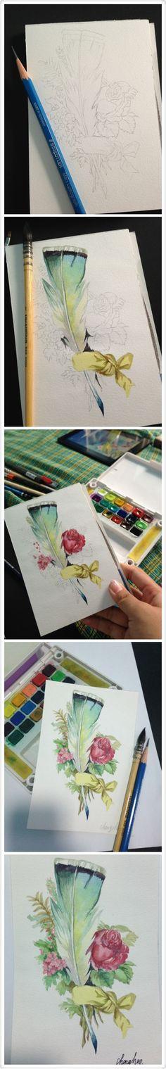 Plume et fleurs
