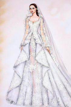 27 Bridal Illustrations From Popular Dress Designers - Wedding - Modes Fashion Figure Drawing, Fashion Drawing Dresses, Fashion Illustration Dresses, Dresses Art, Dress Fashion, Dress Design Drawing, Dress Design Sketches, Fashion Design Drawings, Dress Designs