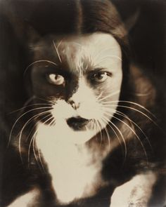 Wanda Wulz, Io + Gatto (self-portrait), 1932. Italy. One of the most famous double exposures in the history of photography, she combined her cat Pippo with her own image. Via WestLicht