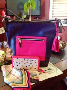 Coach Large Colorblock Duffle with Polka Dot Wallet- sigh..... It's great to be SPOILED!