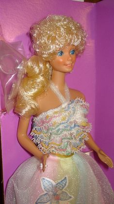 1984? Happy Birthday Barbie...have both the Cdn and U.S. version. Canadian versions hair was not as tightly curled. Named Veronica (U.S.) and Hailey (Cdn). Outfits were the same.